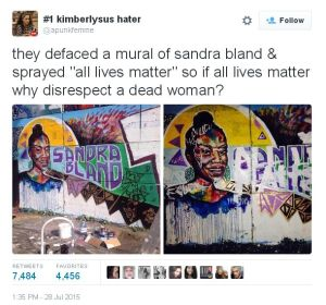 Defacing mural of sandra bland